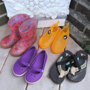 kids 8 / 24 shoe lot Crocs sanuk sandals boots